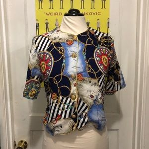 Vintage Nautical Themed Blouse